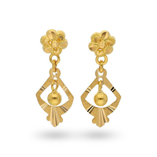 Gold Hanging Ball Drop Earrings 22KT - FKJERN22K2103