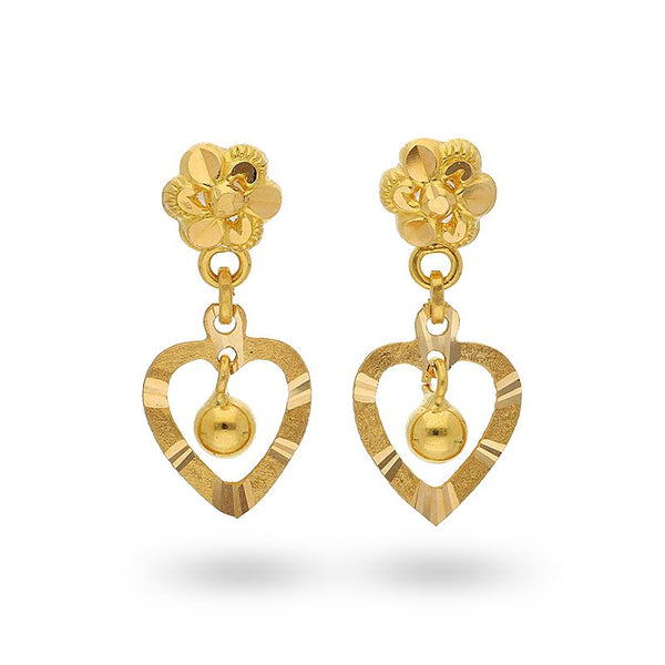 Gold Heart Shaped Hanging Ball Drop Earrings 22KT - FKJERN22K2104