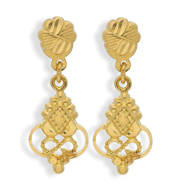 Gold Drop Earrings 22KT - FKJERN22K2116