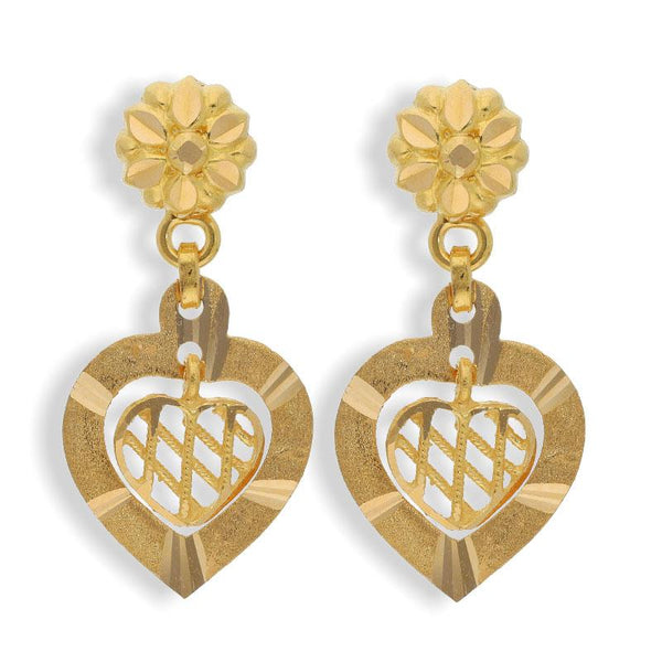 Gold Heart Shaped Drop Earrings 22KT - FKJERN22K2127
