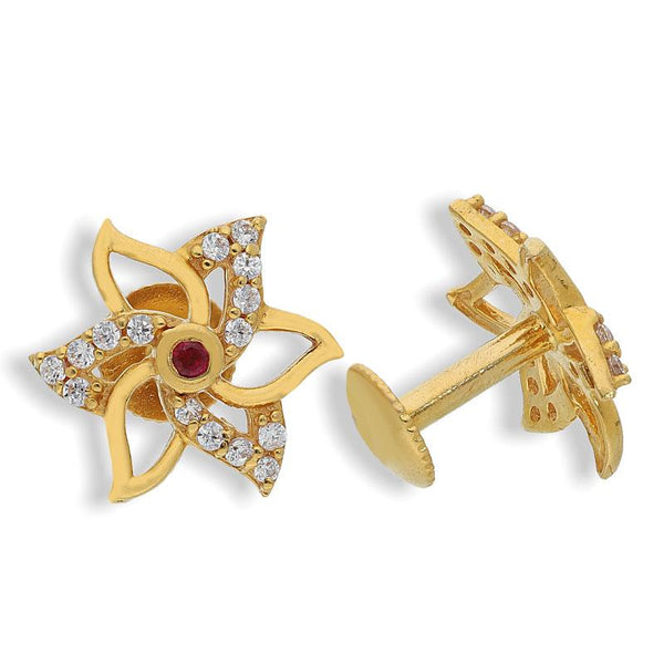 Gold Flower Shaped Earrings 22KT - FKJERN22K2134