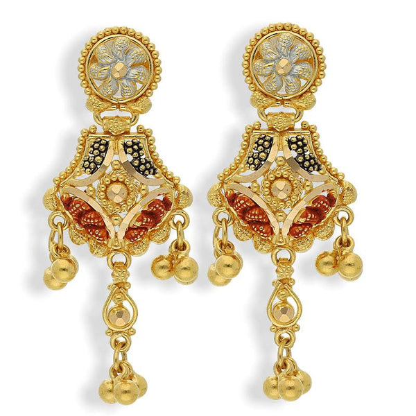 Gold Traditional Drop Earrings 22KT - FKJERN22K2148