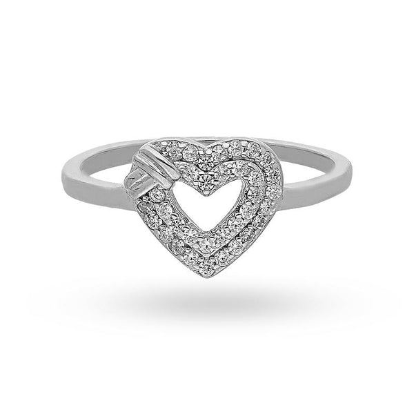 Italian Silver 925 Heart Shaped Ring - FKJRNSL2463