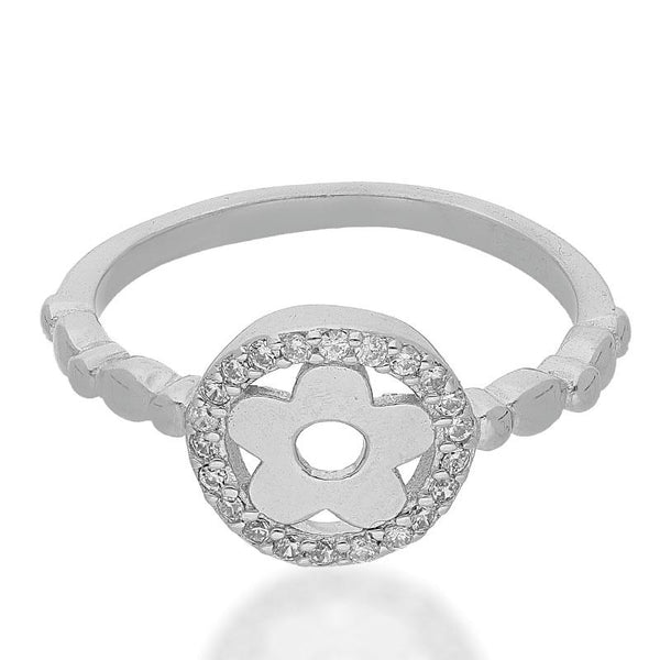 Italian Silver 925 Round Shaped Flower Ring - FKJRNSL2470