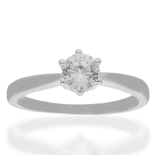 Italian Silver 925 Round Shaped Solitaire Ring - FKJRNSL2495