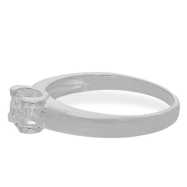 Italian Silver 925 Round Shaped Solitaire Ring - FKJRNSL2498