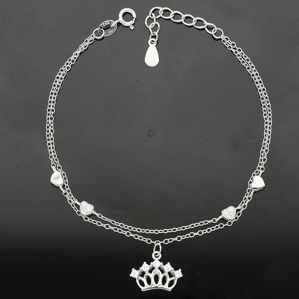 Italian Silver 925 Hanging Crown with Little Hearts Bracelet - FKJBRLSL2283