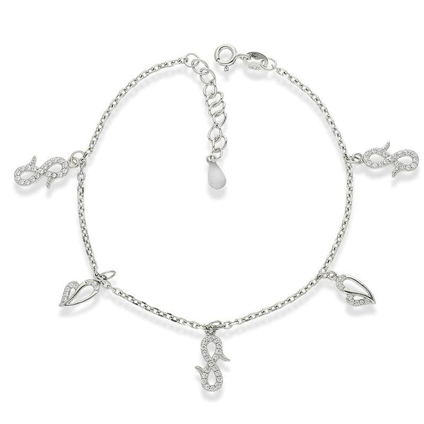 Italian Silver 925 Hanging Infinity and Hearts Charm Bracelet - FKJBRLSL2295
