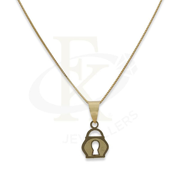 Gold Necklace (Chain with Lock Pendant) 18KT - FKJNKL18K2302