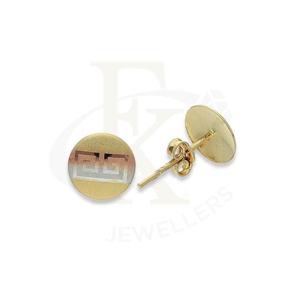 Gold Round Shaped Stud Earrings 18KT - FKJERN18K2239