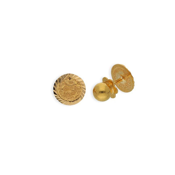 Gold Coin Shaped Stud Earrings 21KT - FKJERN21K2273