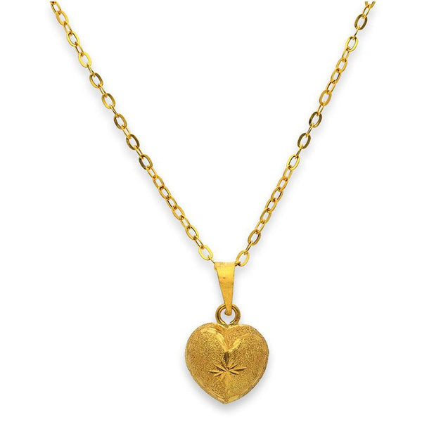Gold Heart Pendant Set (Necklace, Earrings and Ring) 18KT - FKJNKLST18K2240