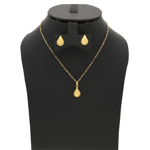 Gold Pear Pendant Set (Necklace and Earrings) 18KT - FKJNKLST18K2234