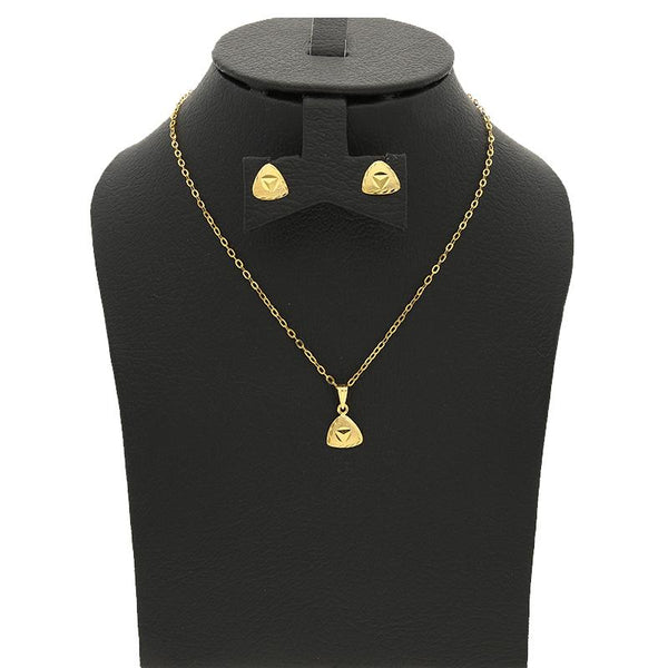 Gold Pendant Set (Necklace and Earrings) 18KT - FKJNKLST18K2230