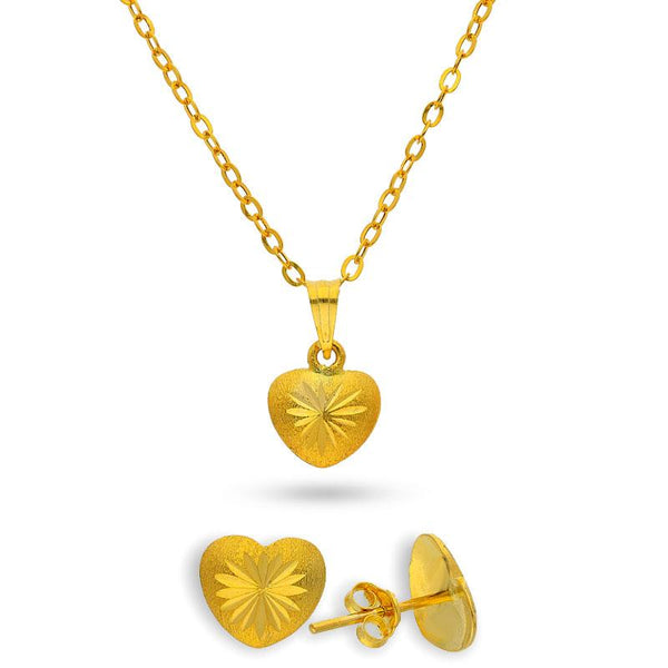 Gold Heart Pendant Set (Necklace and Earrings) 18KT - FKJNKLST18K2151