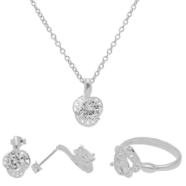 Italian Silver 925 Pendant Set (Necklace, Earrings and Ring) - FKJNKLST1995