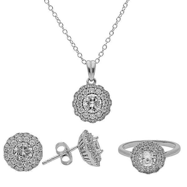 Italian Silver 925 Round Pendant Set (Necklace, Earrings and Ring) - FKJNKLST2021