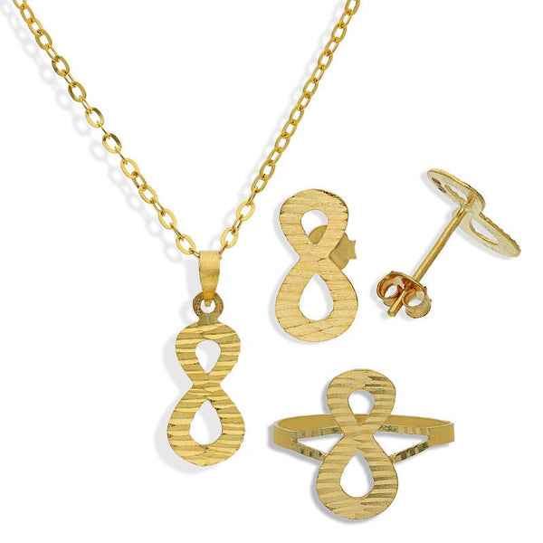 Gold Infinity Shaped Pendant Set (Necklace, Earrings and Ring) 18KT - FKJNKLST18K2169