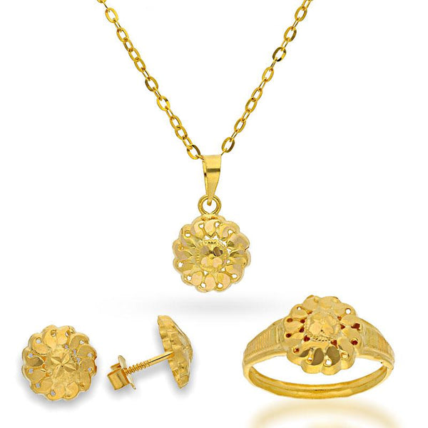 Gold Pendant Set (Necklace, Earrings and Ring) 18KT - FKJNKLST18K2128