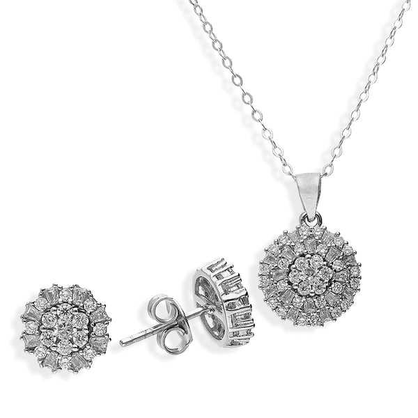 Italian Silver 925 Round Flower Pendant Set (Necklace and Earrings) - FKJNKLSTSL2196