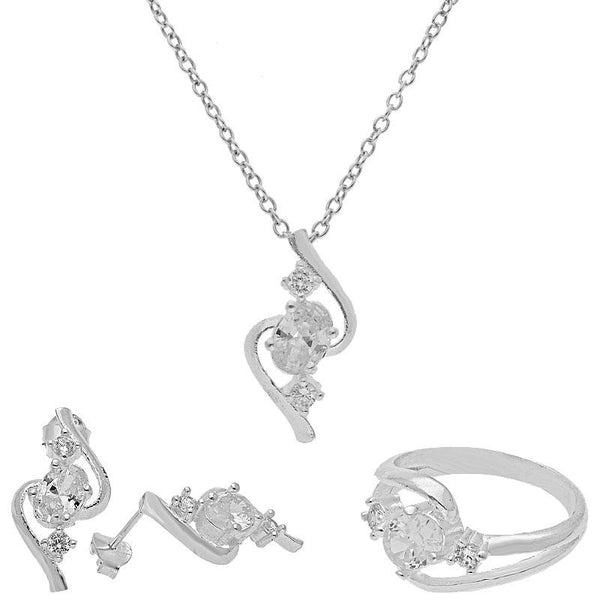 Italian Silver 925 Pendant Set (Necklace, Earrings and Ring) - FKJNKLST1835
