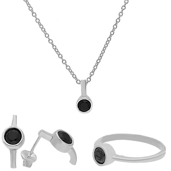 Italian Silver 925 Pendant Set (Necklace, Earrings and Ring) - FKJNKLST2051