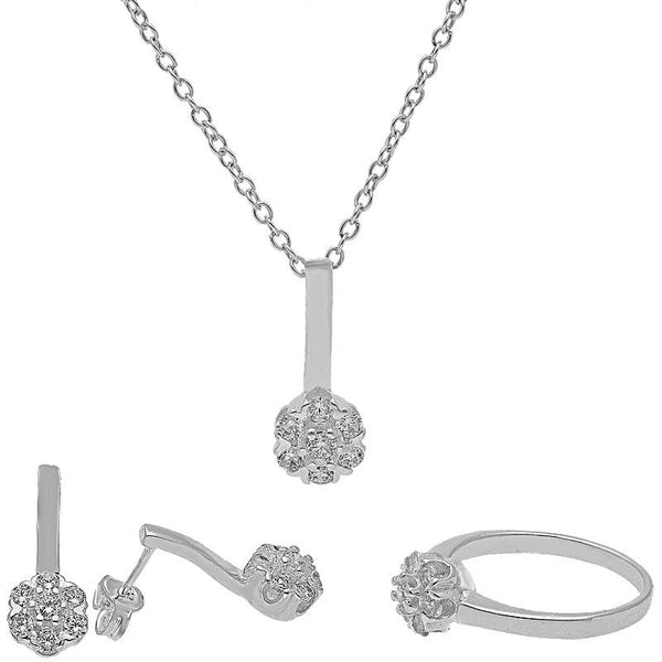 Italian Silver 925 Pendant Set (Necklace, Earrings and Ring) - FKJNKLST2011