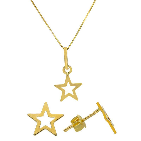 Gold Star Shaped Pendant Set (Necklace and Earrings) 18KT - FKJNKLST18K2093