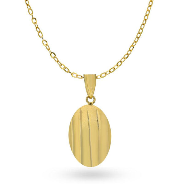 Gold Necklace (Chain with Oval Shaped Pendant) 18KT - FKJNKL18K1996