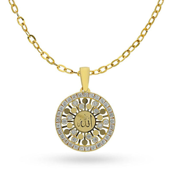 Gold Round Shaped Allah Necklace 18KT - FKJNKL1990