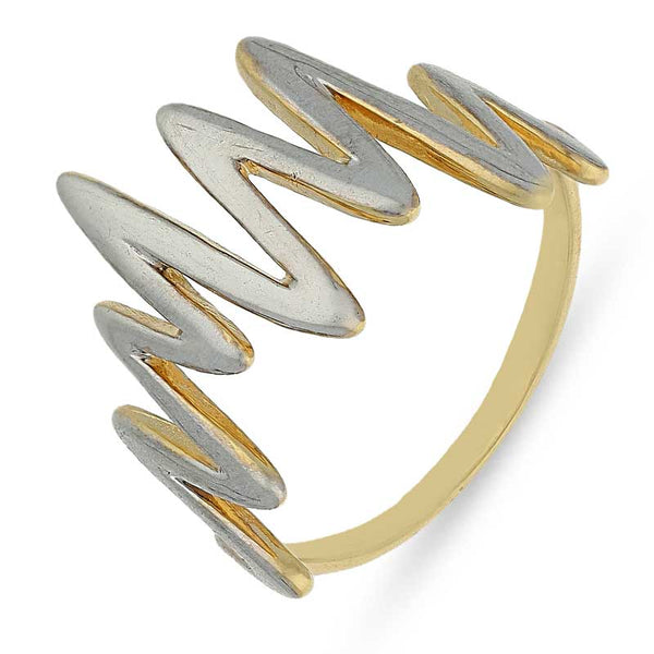 Gold Dual Tone Heartbeat Shaped Ring 18KT - FKJRN18K2567