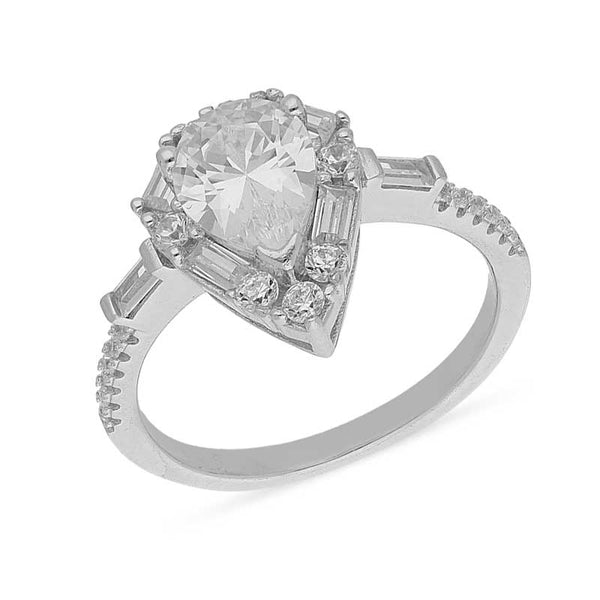 Italian Silver 925 Pear Shaped Solitaire Ring - FKJRNSL2459