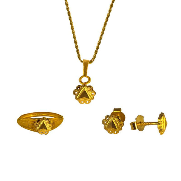 Gold Pendant Set (Necklace, Earrings and Ring) 18KT - FKJNKLST1913