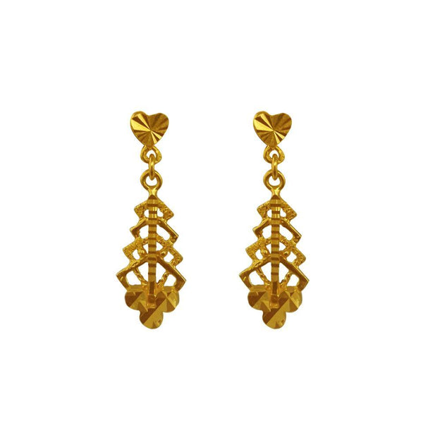 Gold Drop Earrings 22KT - FKJERN1611-fkjewellers