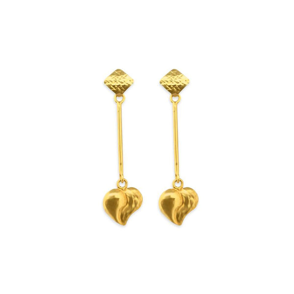 Gold Drop Heart Earrings 18KT - FKJERN1560-fkjewellers