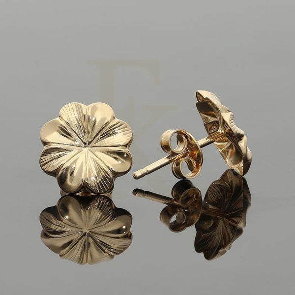 Gold Flower Stud Earrings 18Kt - Fkjern18K2204