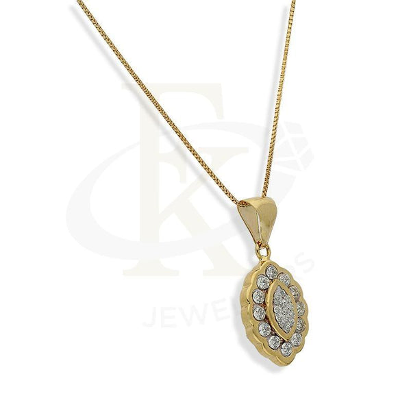 Gold Marquise Shaped With Swarovski Gemstones Pendant Set (Necklace And Earrings) 18Kt -
