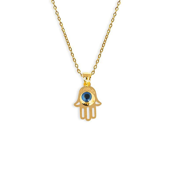 Gold Necklace (Chain with Hamsa Hand Pendant) 18KT - FKJNKL1677-fkjewellers
