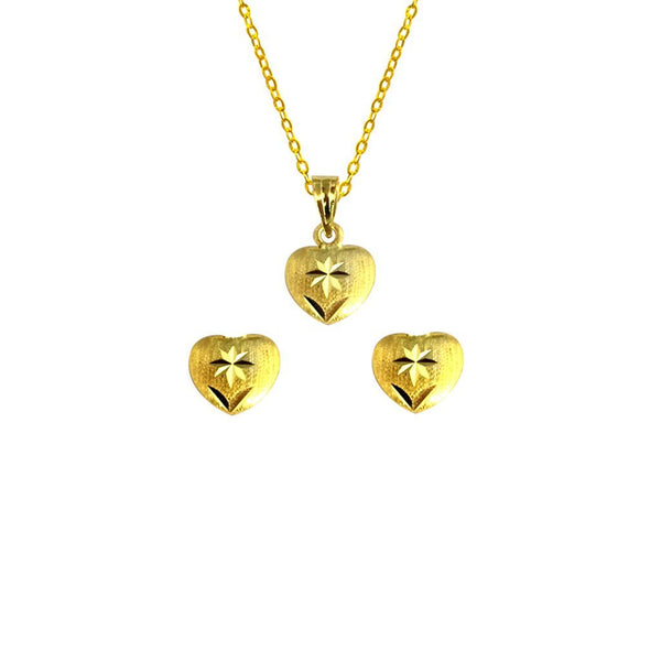 Gold Pendant Set (Necklace and Earrings) 18KT - FKJNKLST1906-fkjewellers