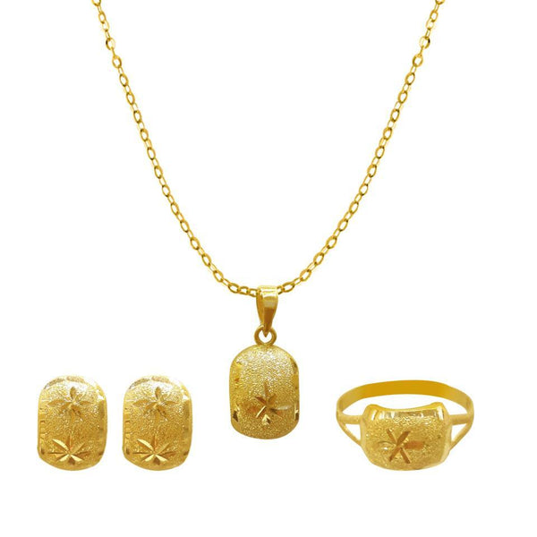 Gold Pendant Set (Necklace, Earrings and Ring) 18KT - FKJNKLST1677-fkjewellers