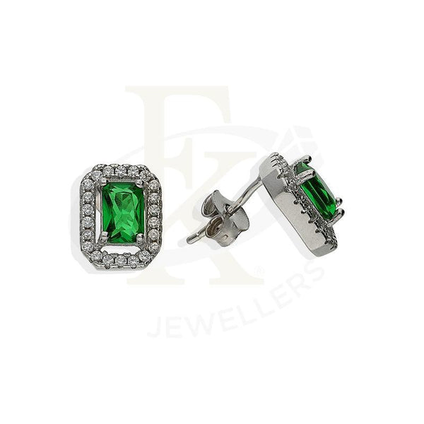 Italian Silver 925 Radiant Shaped Green Solitaire Pendant Set (Necklace Earrings And Ring) -