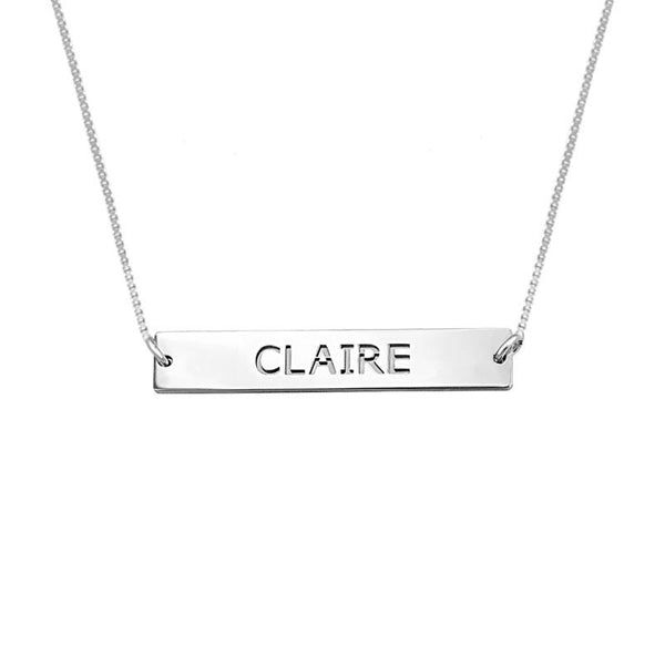 Silver 925 Name Engraved Bar Necklace - FKJNKL1924