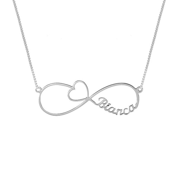 Silver 925 Infinity Name with Heart Necklace - FKJNKL1931