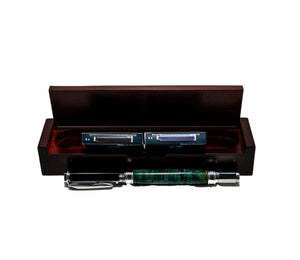 Caribbean Blue - Black Ash Burl Magnificent Fountain Pen