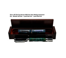 Load image into Gallery viewer, Caribbean Blue - Black Ash Burl Magnificent Fountain Pen