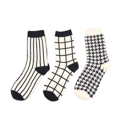 Unisex Lattice Black & White Socks