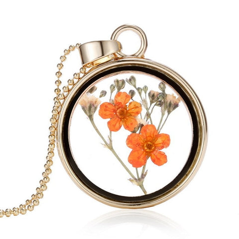 Pressed Flower Dry Flower Round Necklace Gold Chain