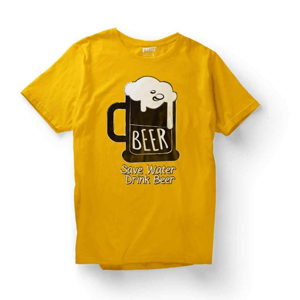 Custom t shirts India : Drink Beer T Shirt Leoliy S Yellow