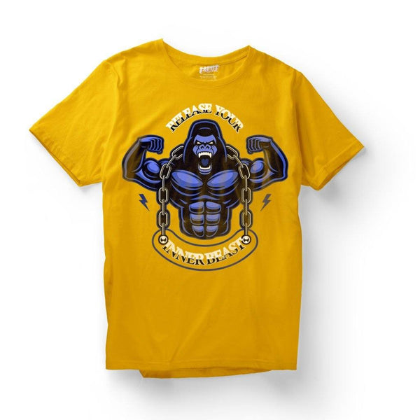 Release Your Inner Beast : Gyming t shirts T Shirt Leoliy S Yellow