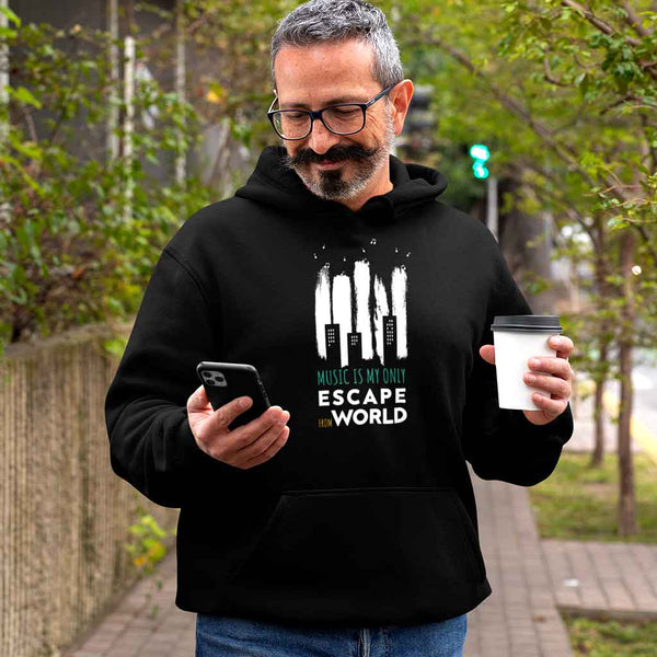 black-hoodies-for men-of-a-silver-haired-man-staring-at-his-phone